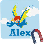 Flying a Dragon Square Fridge Magnet (Personalized)