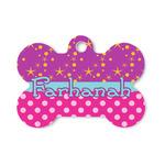 Sparkle & Dots Bone Shaped Dog ID Tag (Personalized)