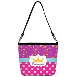 Sparkle & Dots Bucket Bag w/ Genuine Leather Trim (Personalized)