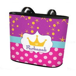 Sparkle & Dots Bucket Tote w/ Genuine Leather Trim (Personalized)