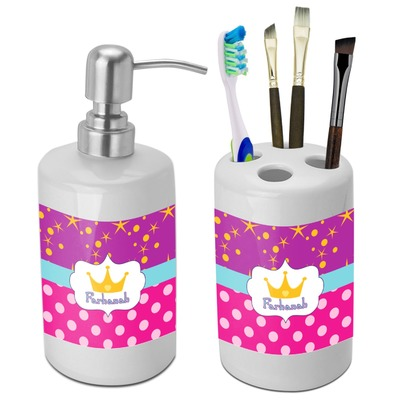 Sparkle & Dots Bathroom Accessories Set (Ceramic) (Personalized)