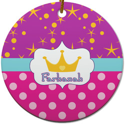 Sparkle & Dots Round Ceramic Ornament w/ Name or Text