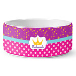 Sparkle & Dots Ceramic Dog Bowl (Personalized)