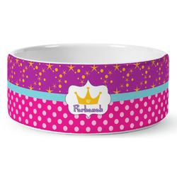Sparkle & Dots Ceramic Dog Bowl (Personalized)