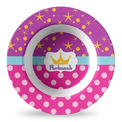 Sparkle & Dots Plastic Bowl - Microwave Safe - Composite Polymer (Personalized)