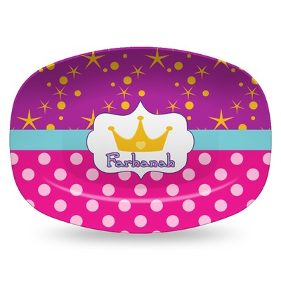 Sparkle & Dots Plastic Platter - Microwave & Oven Safe Composite Polymer (Personalized)