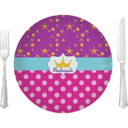 """Sparkle & Dots Glass Lunch / Dinner Plates 10"""" - Single or Set (Personalized)"""