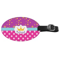 Sparkle & Dots Genuine Leather Oval Luggage Tag (Personalized)