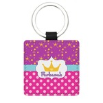 Sparkle & Dots Genuine Leather Rectangular Keychain (Personalized)