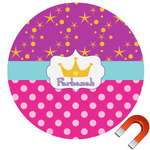 Sparkle & Dots Round Car Magnet (Personalized)