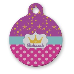 Sparkle & Dots Round Pet ID Tag (Personalized)