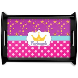 Sparkle & Dots Black Wooden Tray (Personalized)