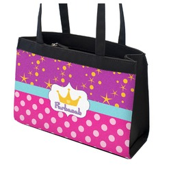 Sparkle & Dots Zippered Everyday Tote w/ Name or Text