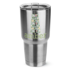 Vintage Floral 30 oz Silver Stainless Steel Tumbler w/Full Color Graphics (Personalized)