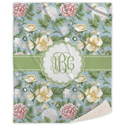 Vintage Floral Sherpa Throw Blanket (Personalized)