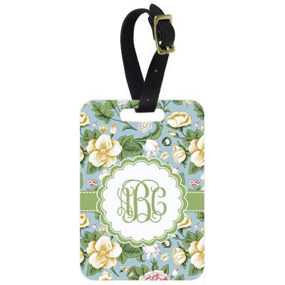 Vintage Floral Metal Luggage Tag w/ Monogram