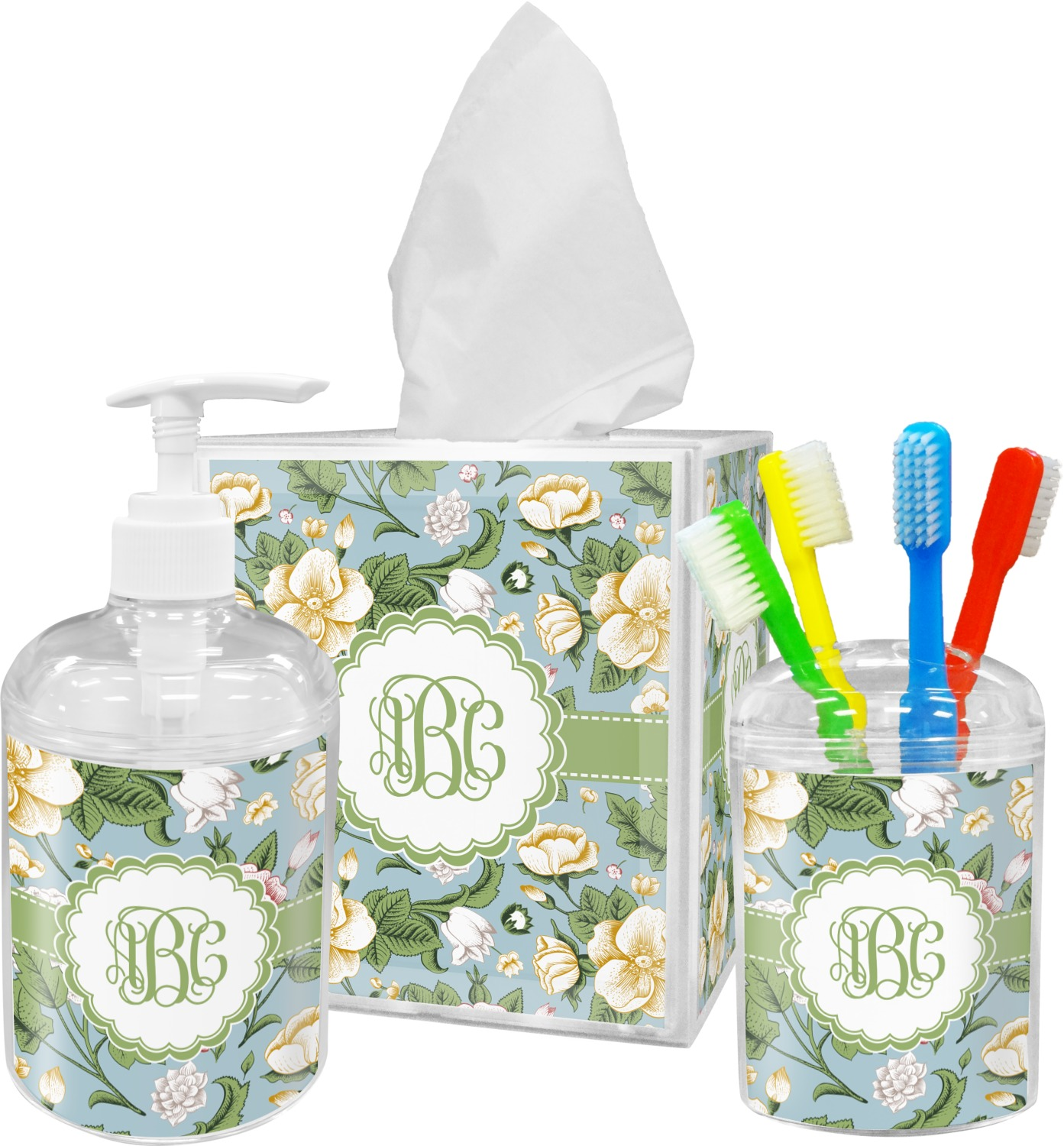 Delicieux Vintage Floral Bathroom Accessories Set (Personalized)