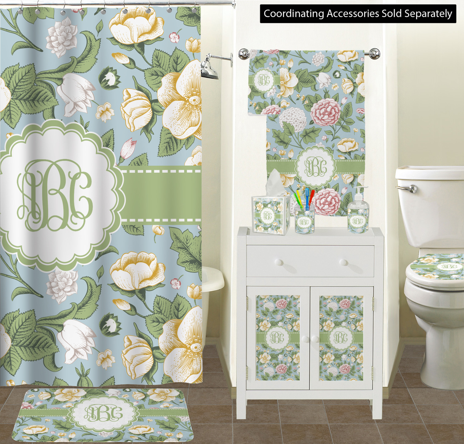 Vintage Floral Shower Curtain Personalized Youcustomizeit