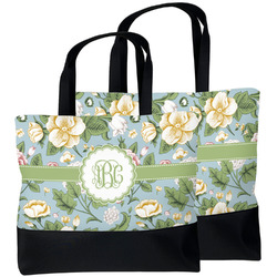 Vintage Floral Beach Tote Bag (Personalized)
