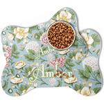 Vintage Floral Bone Shaped Dog Food Mat (Personalized)