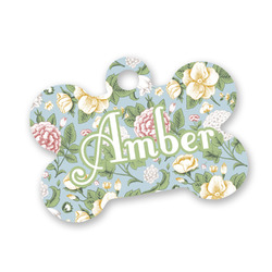 Vintage Floral Bone Shaped Dog ID Tag (Personalized)