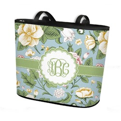 Vintage Floral Bucket Tote w/ Genuine Leather Trim (Personalized)