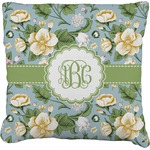 Vintage Floral Faux-Linen Throw Pillow (Personalized)