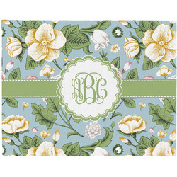 Vintage Floral Woven Fabric Placemat - Twill w/ Monogram