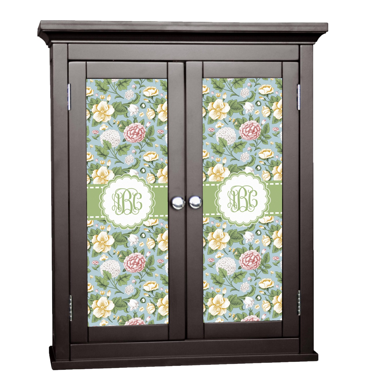 Vintage floral cabinet decal large personalized for Kitchen cabinets lowes with how to make decal stickers