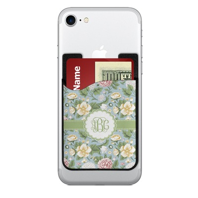 Vintage Floral 2-in-1 Cell Phone Credit Card Holder & Screen Cleaner (Personalized)