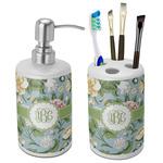 Vintage Floral Ceramic Bathroom Accessories Set (Personalized)