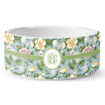 Vintage Floral Ceramic Dog Bowl (Personalized)