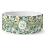 Vintage Floral Ceramic Dog Bowl (Personalized)