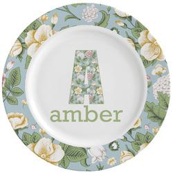 Vintage Floral Ceramic Dinner Plates (Set of 4) (Personalized)