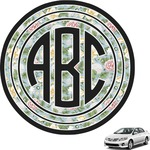 Vintage Floral Circle Monogram Car Decal (Personalized)