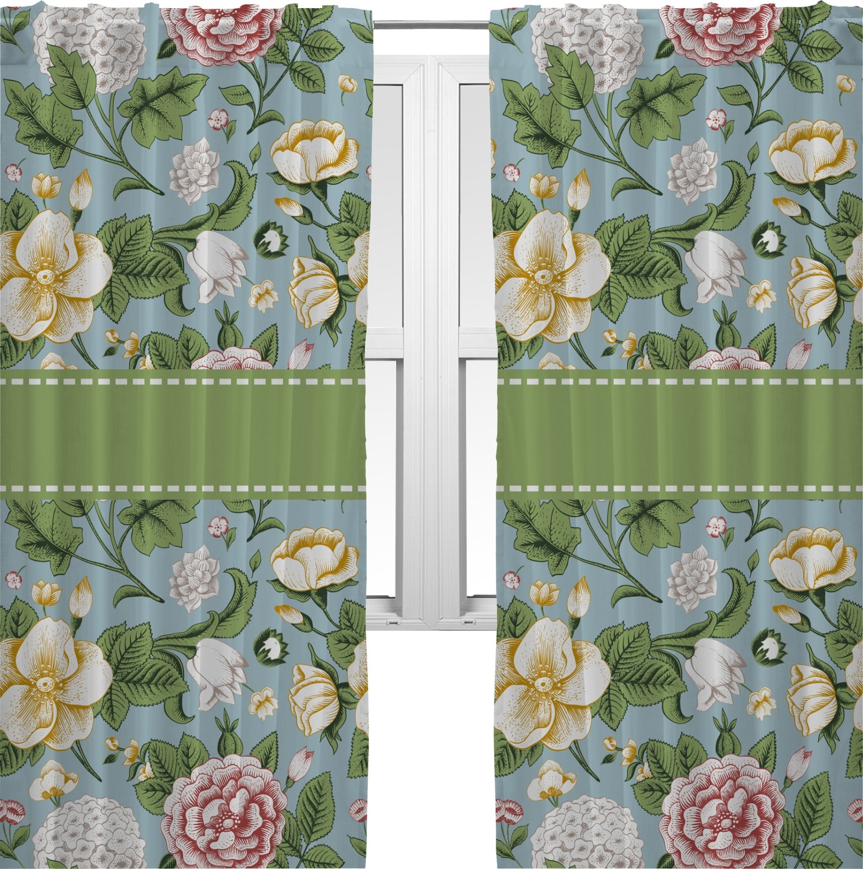 Vintage Floral Curtains 40 X84 Panels Unlined 2