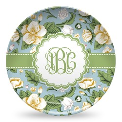 Vintage Floral Microwave Safe Plastic Plate - Composite Polymer (Personalized)