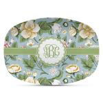 Vintage Floral Plastic Platter - Microwave & Oven Safe Composite Polymer (Personalized)