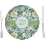 """Vintage Floral Glass Lunch / Dinner Plates 10"""" - Single or Set (Personalized)"""