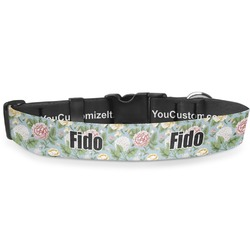 "Vintage Floral Deluxe Dog Collar - Large (13"" to 21"") (Personalized)"