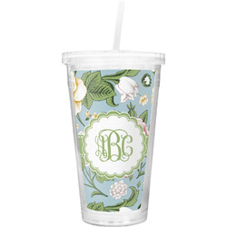 Vintage Floral Double Wall Tumbler with Straw (Personalized)