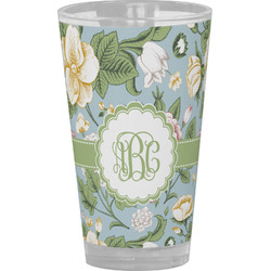 Vintage Floral Drinking / Pint Glass (Personalized)