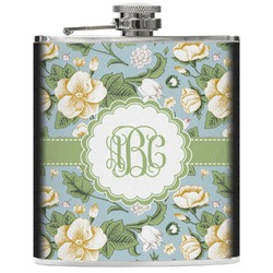 Vintage Floral Genuine Leather Flask (Personalized)