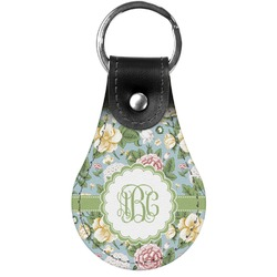 Vintage Floral Genuine Leather  Keychains (Personalized)