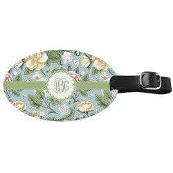 Vintage Floral Genuine Leather Oval Luggage Tag (Personalized)