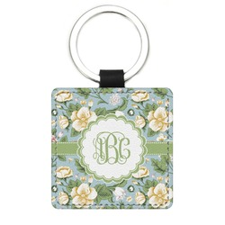 Vintage Floral Genuine Leather Rectangular Keychain (Personalized)