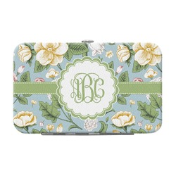Vintage Floral Genuine Leather Small Framed Wallet (Personalized)