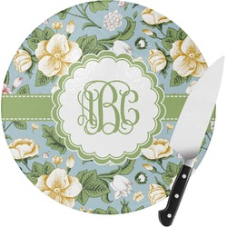 Vintage Floral Round Glass Cutting Board (Personalized)