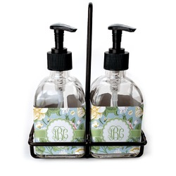 Vintage Floral Soap & Lotion Dispenser Set (Glass) (Personalized)