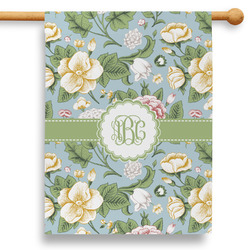 """Vintage Floral 28"""" House Flag - Double Sided (Personalized)"""